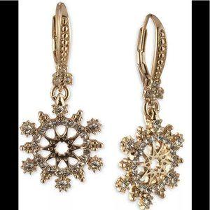 Marchesa Open Work Lever Back Earrings gold tone